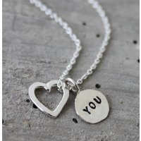 Heart & Tag Charm Silver Necklace