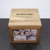 We are Family Oak Photo Keepsake Box