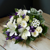 White Lily & Blue Iris Funeral Sheaf