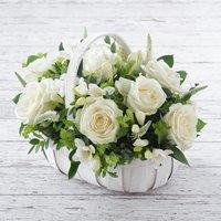 White Rose & Freesia Basket