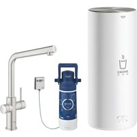 Grohe 30340DC1 Red Duo Instant Boiling Water Kitchen Tap and L Size Boiler - STAINLESS STEEL