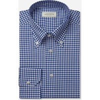 Shirt  gingham  blue 100% pure cotton zephyr, collar style  button-down collar
