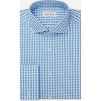 Shirt  gingham  light blue 100% wrinkle free cotton poplin, collar style  lower spread collar, cuff  french cuff (cufflinks)