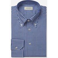 Shirt  gingham  blue 100% pure cotton zephyr, collar style  button-down collar