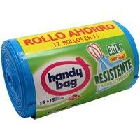 HANDY BAG BOLSAS DE BASURA RESISTENTE ANTIBACTERIAS 30 L 25 UNIDADES