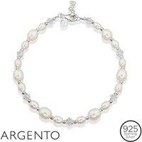 Argento Silver Pearl Crystal Bracelet