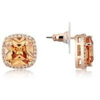 August Woods Square Cut Champagne Crystal Stud Earrings