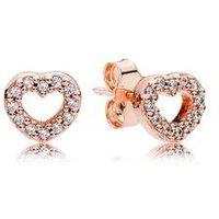 Pandora Rose Crystal Heart Earrings