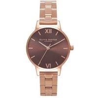 Olivia Burton Brown Midi Dial Rose Gold Bracelet Watch