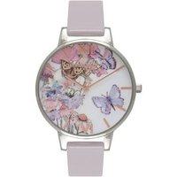 Olivia Burton Painterly Prints Grey Lilac & Silver Watch