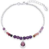 Karma February Birthstone Beaded Bracelet - Silver