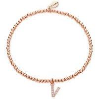 Karma Rose Gold Letter V Bracelet