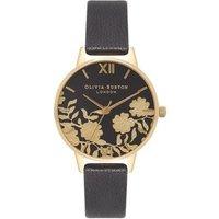 Olivia Burton Lace Detail Black & Gold Watch