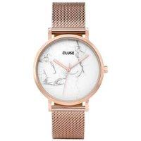CLUSE La Roche Mesh Rose Gold & White Marble Watch