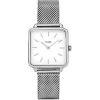CLUSE La Tetragone Silver Mesh White Dial Watch