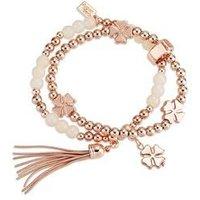 August Woods Rose Gold Beaded Tassel Bracelet