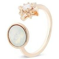 August Woods Rose Gold Crystal Star Opal Open Ring