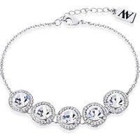 August Woods Silver Large Crystal Halo Bracelet