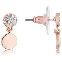 August Woods Rose Gold Crystal Coin Earrings