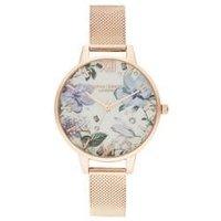 Olivia Burton Bejewelled Floral Rose Gold Mesh Watch