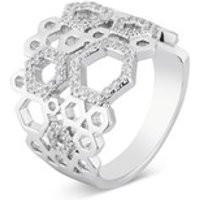 August Woods Silver Mini Hexagon Crystal Ring