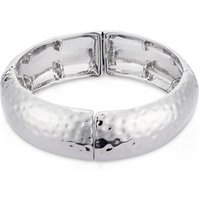 August Woods Silver Oversized Elastic Chiselled Bangle
