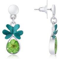 August Woods Silver + Green Floral Earrings