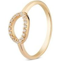 Argento Gold Crystal Oval Ring - Ring Size 50