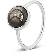 Argento Mother of Pearl Imprints Moon Ring - Ring Size 50 925 Silver