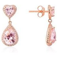 Argento Rose Gold Imperial Heart Pink Earrings - Rose Gold