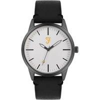 Farah Classic Grey + Black Leather Watch - Black