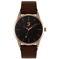 Farah Classic Rose Gold + Brown Leather Watch - Rose Gold