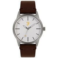 Farah Classic Silver + Brown Leather Watch - Silver