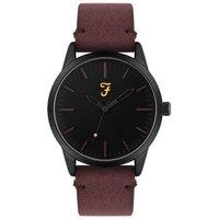 Farah Classic Black + Burgundy Suedette Watch - Black