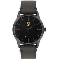 Farah Classic Grey Suedette Watch - Black