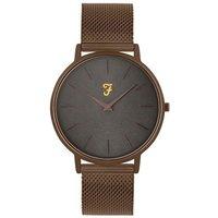 Farah Slim Jim Bronze Mesh + Grey Dial Watch - Rose Gold