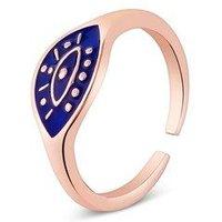 Dirty Ruby Midnight Blue Evil Eye Adjustable Ring