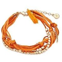 Dirty Ruby Orange + Gold Layered Cord Bracelet