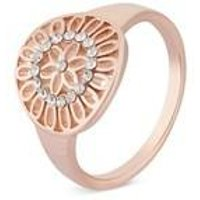 August Woods Rose Gold Intricate Circle Ring - Ring Size 56