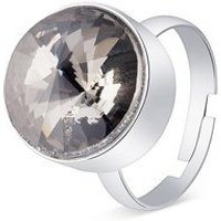 August Woods Silver + Black Dusk Crystal Ring - Silver