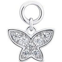 Storie Silver Crystal Butterfly Pendant Charm - 925 Silver