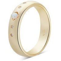 Argento Gold Opal Crystal Disc Ring - Ring Size 52 Rose Gold