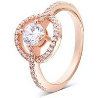 Argento Rose Gold Crystal Circle Ring - Ring Size 50 Rose Gold
