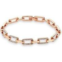August Woods Rose Gold Rectangle Crystal Link Bracelet - Rose Gold