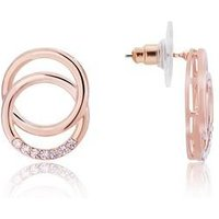 August Woods Rose Gold Crystal Layer Circle Earrings - Rose Gold