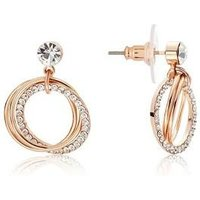 August Woods Rose Gold Open Crystal Circle Earrings - Rose Gold