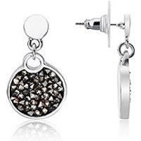 August Woods Silver Black Minerals Druzy Drop Earrings - Silver