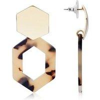 Dirty Ruby Gold  Hexagon Tortoiseshell Earrings - Gold