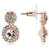 August Woods Rose Gold Flower Crystal Drop Earrings - Rose Gold