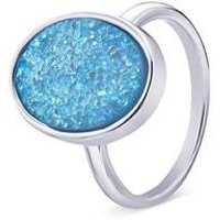 August Woods Silver Blue Minerals Druzy Ring - Ring Size 54 Silver